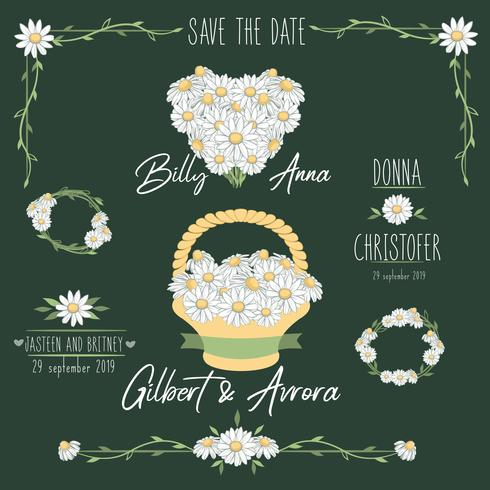 Daisy wedding invitation. Save the date. Basket with flowers. Heart vector