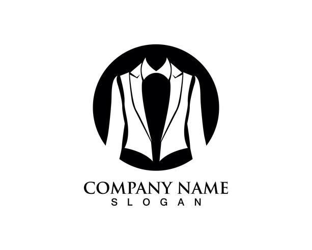 Plantilla de iconos de logotipo y símbolos de hombre de smoking negro