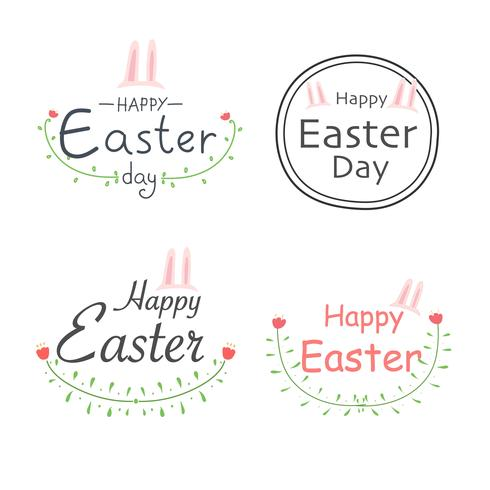 Set Of Happy Easter Labels. Elements For Calligraphic Designs. Handmade Vector Illustration.