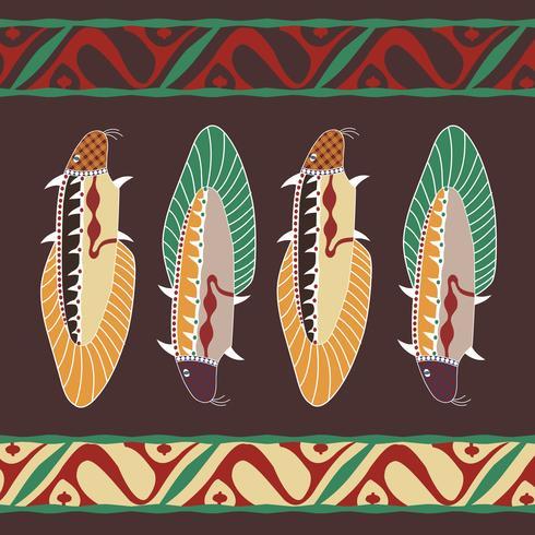 Avstralian aborigen oriental ornament background with fish