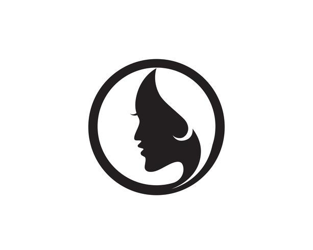 Haarfrau und Gesichtslogo und Symbolvektor