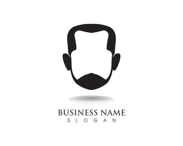barbe masculine cheveux noirs logo geek et symbole