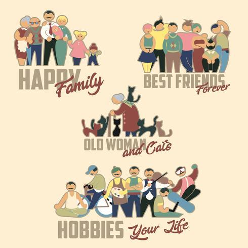 Gruppe von Personen Familie, Freunde, alte Frau und Katzen, Hobbys