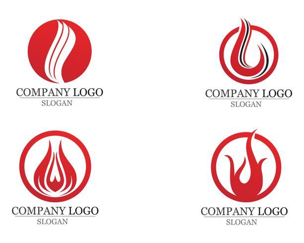 Llama de fuego Logo plantilla vector icono Petróleo gas y energía