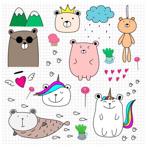 Doodle lindo oso conjunto. Ejemplo dibujado mano del vector del estilo