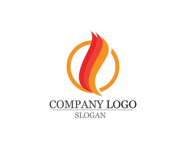Vuur vlam Logo sjabloon vector pictogram Olie gas en energie