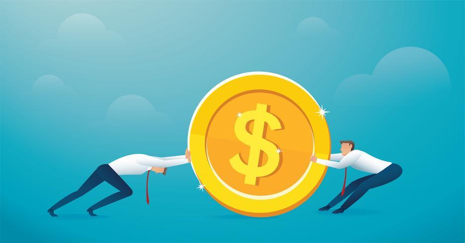 twee mannen duwen de grote gouden munt naar succes vector
