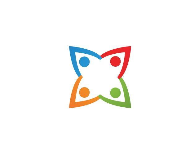 Plantilla de logotipo y símbolos de atención a las personas de la comunidad. vector