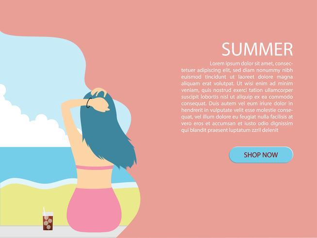 Fond d'été avec vue arrière de la jeune fille de bikini à la plage et le papier de la mer coupé style.