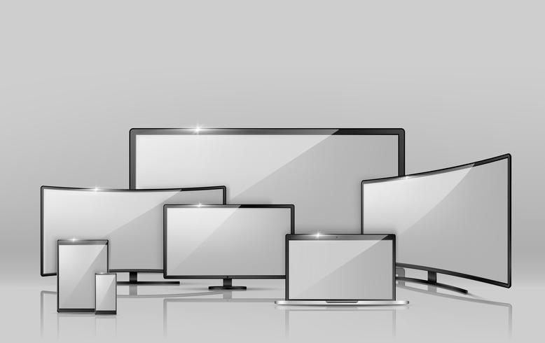 Verschiedene Bildschirme des Vektors - Notizbuch, Smartphone, Fernsehen.