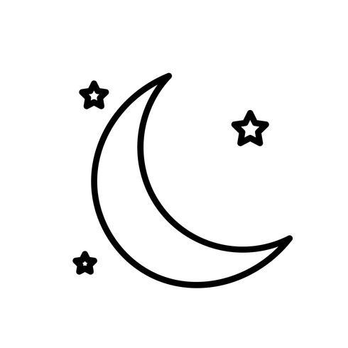 Vector icono de la luna y las estrellas