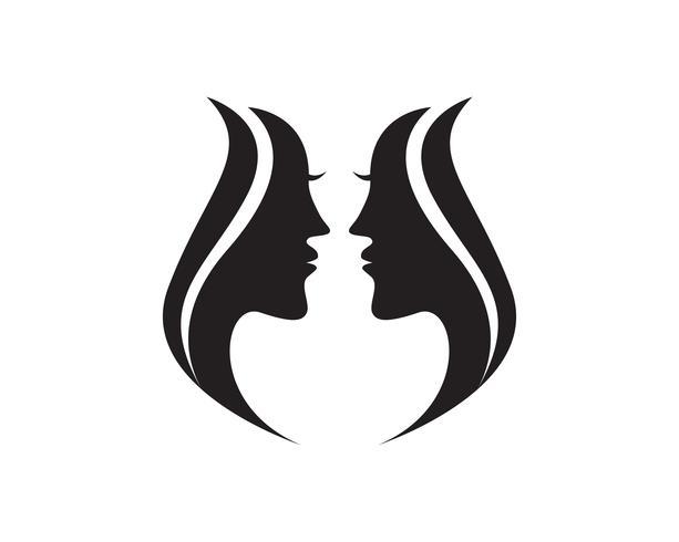 haar vrouw en gezicht logo en symbolen