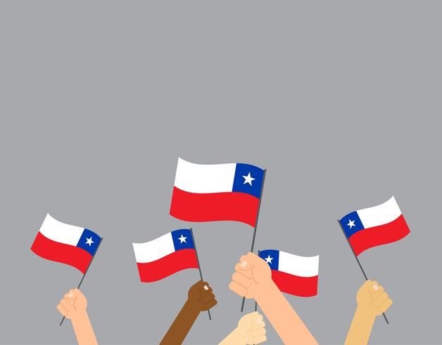 Vector illustration hands holding Chile flags isolated on gray background