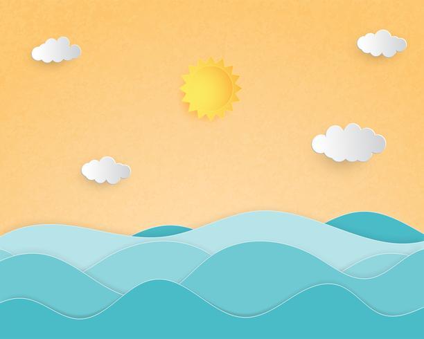 O papel de conceito criativo do fundo do verão da ilustração cortou o estilo com paisagem da onda do mar. vetor