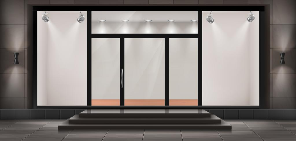 Vector storefront, tomt upplyst showroom