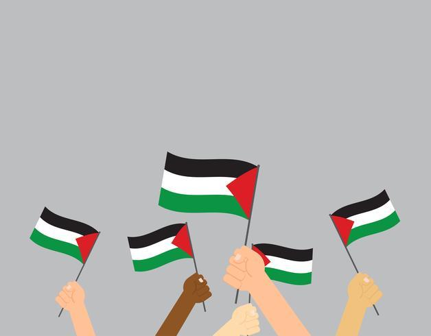 Manos de ilustración vectorial sosteniendo banderas de Palestina sobre fondo gris vector