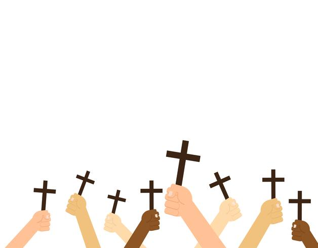 Hands holding christian cross isolated on white background - Vector illustration