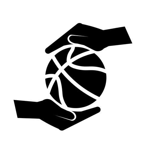 Hand, die einen Basketball-Ikonen-Vektor hält
