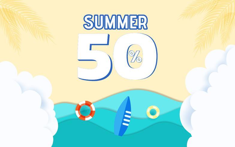 Onde di carta di mare blu vista dall'alto e design pubblicitario di vendita spiaggia