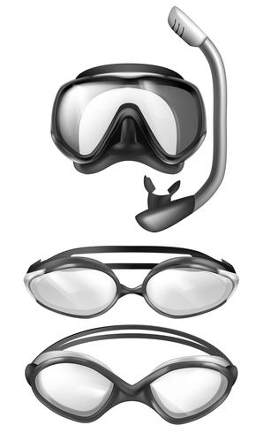 Vector mask for diving, goggles for swimming