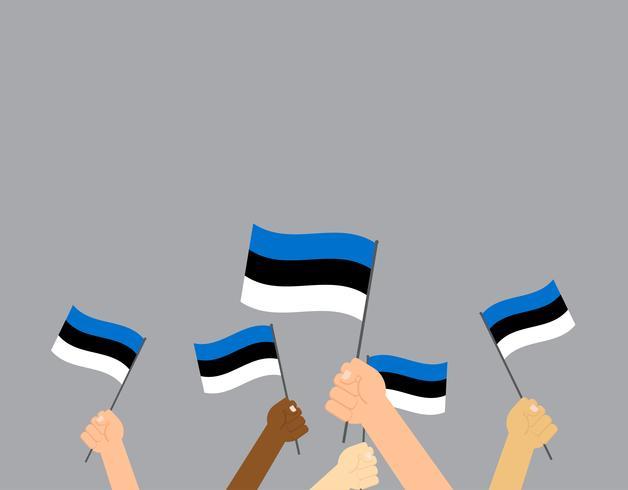 Vector die Illustrationshände, die Estland-Flaggen halten, die auf grauem Hintergrund lokalisiert werden