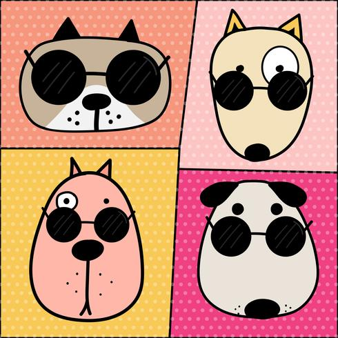 Caracteres dibujados mano lindo de la cara del perro fijados. Ilustracion vectorial vector