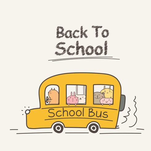 Di nuovo al concetto della scuola con lo scuolabus. Illustrazione vettoriale animale carino.