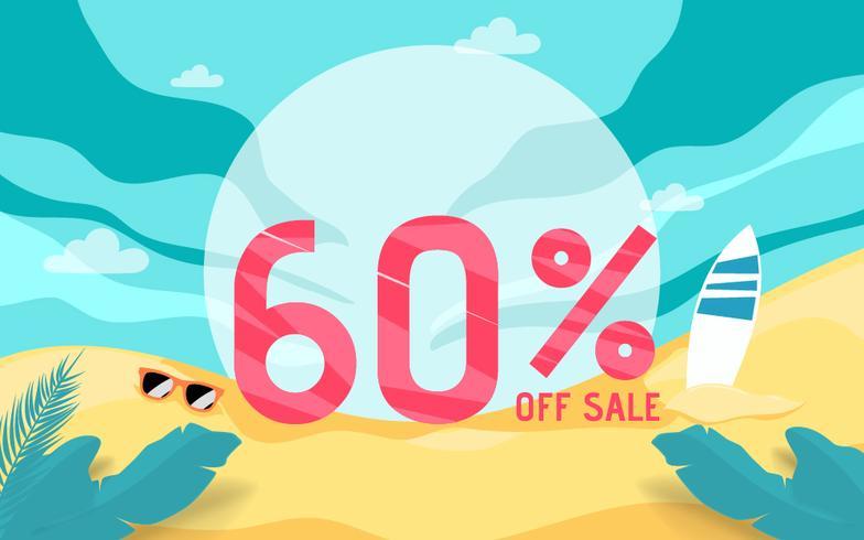 Vacaciones de banner de venta de verano con escena de playa. vector