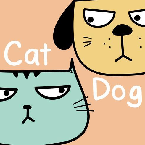 Katze gegen Hundevektor-Illustrations-Hintergrund.