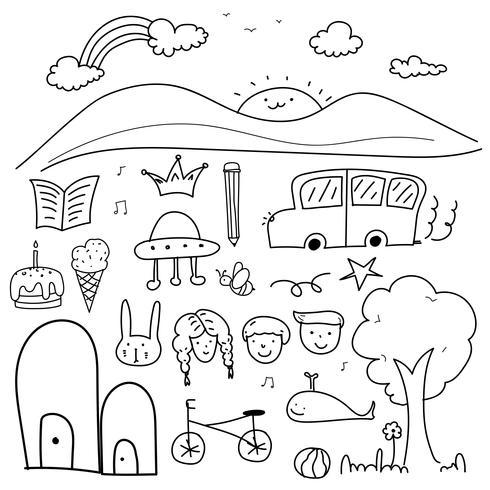 Dibujado a mano Doodle Vector precioso conjunto para niños.