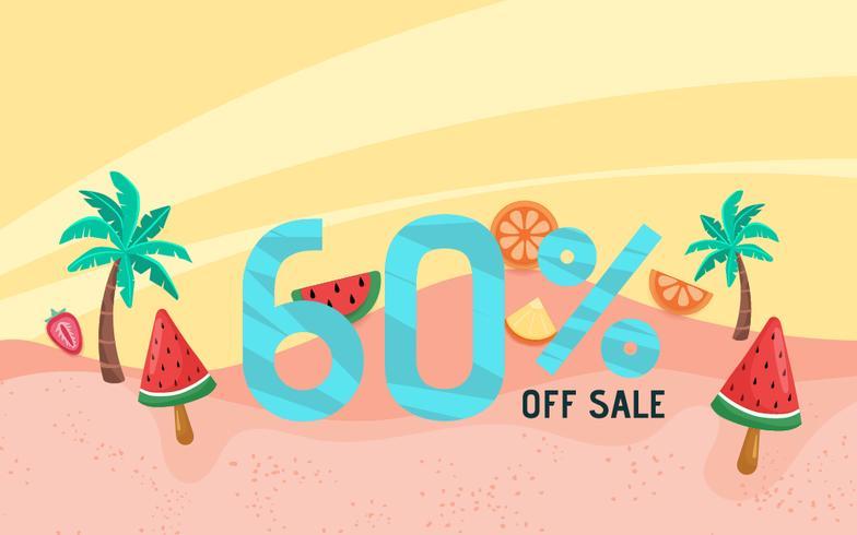 Vacaciones de banner de venta de verano con escena de playa