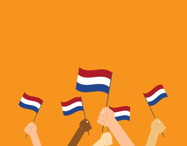 Vector illustration hands holding Netherlands flags on orange background