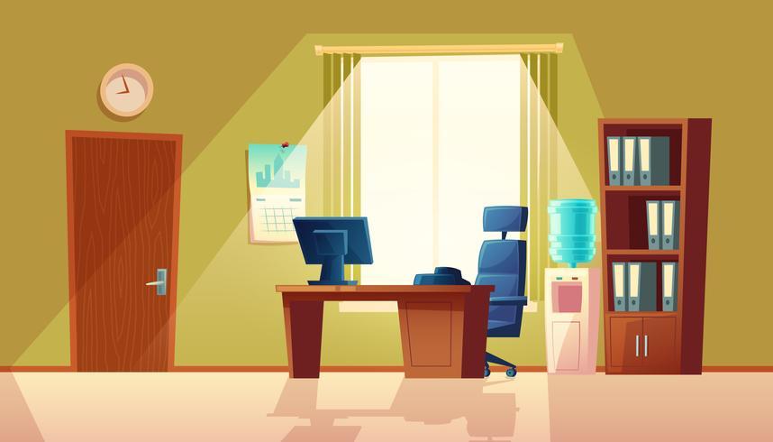 Vector l'ufficio vuoto del fumetto con la finestra, interno moderno
