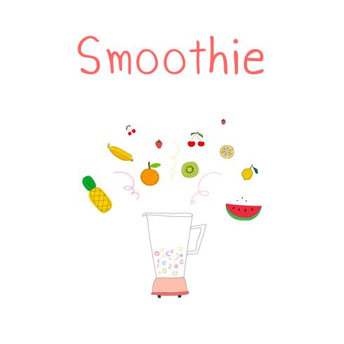 Hand drawn smoothies set includes pineapple, strawberry, banana, kiwi, tangerine, lemon and cherry. Blender with fruits. Vector illustration.