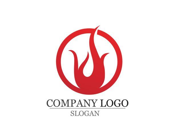 Brandflamma Logo Mall vektorikon Olja gas och energi