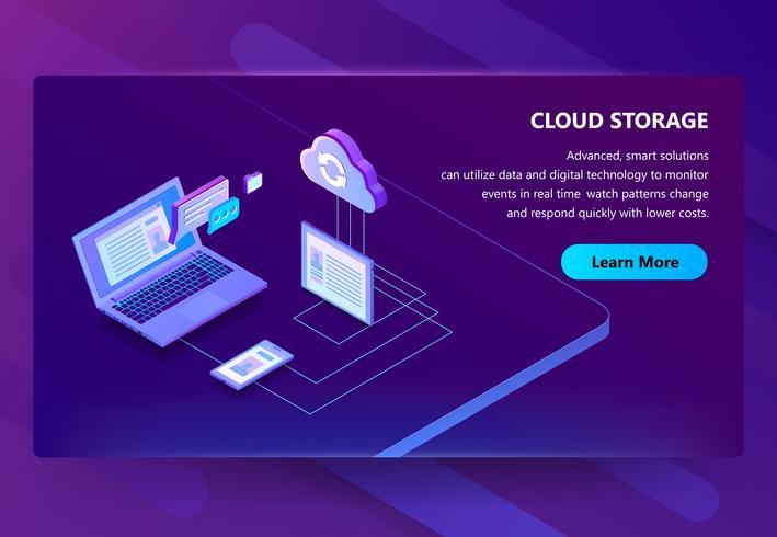 Fondo dell'illustrazione di vettore di tecnologia di web di stoccaggio della nuvola