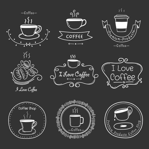 Satz Weinlese-Retro- Kaffee-Aufkleber. Retro-Elemente für kalligraphische Designs. Handgemachte Vektor-Illustration.
