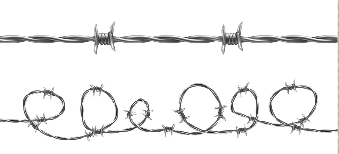Ilustración de vector de patrones sin fisuras de alambre de púas