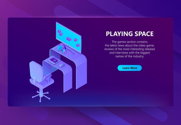 Isometrischer Spielstandort des Vektors 3d, Unterhaltungsnachrichten