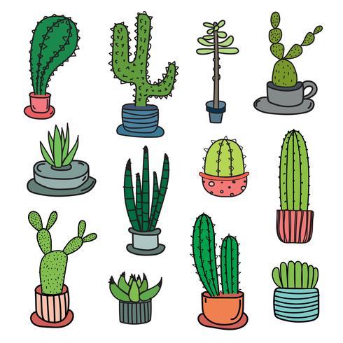 Mão desenhada Doodle Cactus Vector Set. Ilustração vetorial artesanal.