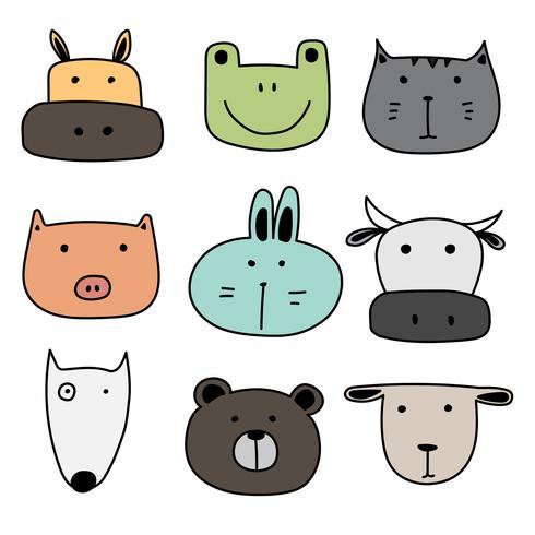 Set av sött djur. Handdragen Vektorillustration