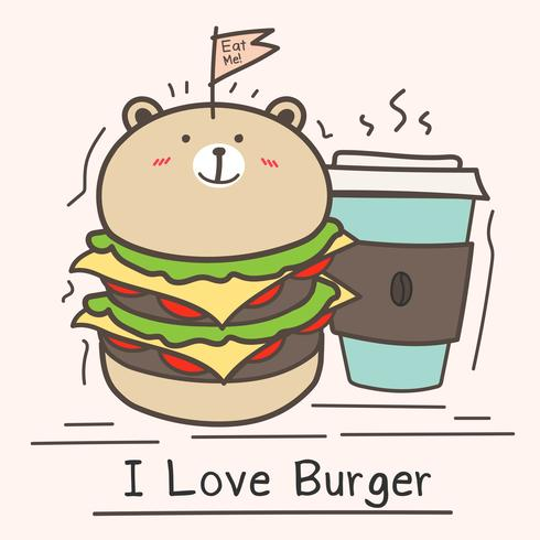 I Love Burger Concept With Cute Bear Burger And Coffee Cup. vector