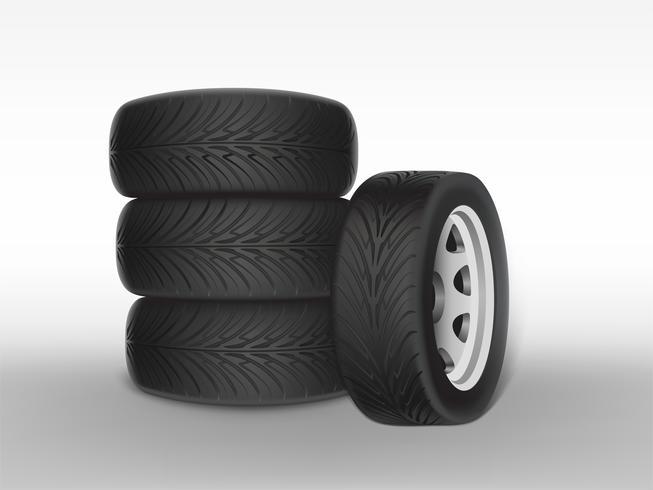 Vecteur 3d pneu noir réaliste avec bande de roulement