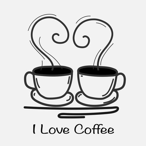 Amo el ejemplo dibujado mano del vector del café Doodle Art.