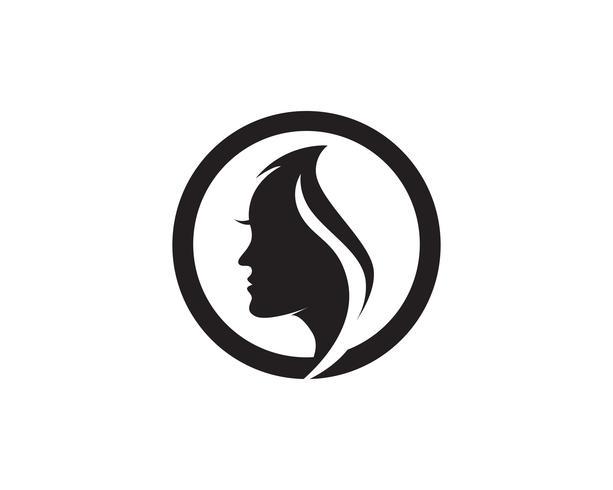 haar vrouw en gezicht logo en symbolen vector