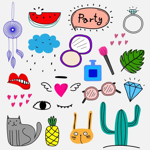 Hand Drawn Doodle Vector Colorful Party Set. Vector Design Elements Collection.