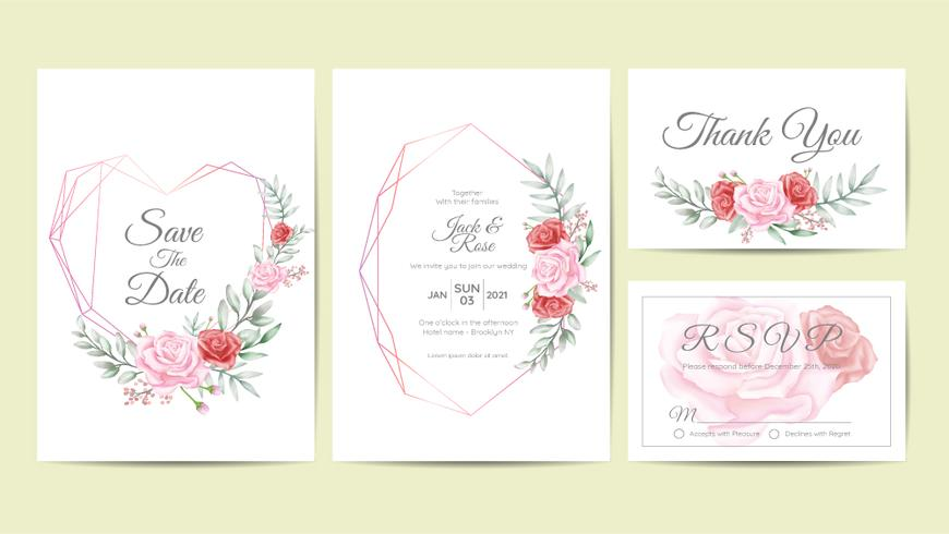 Watercolor Floral Frame Wedding Invitation Cards Template Set. Hand Drawing Flower and Branches Save the Date, Greeting, Thank You, and RSVP Cards Multipurpose vector