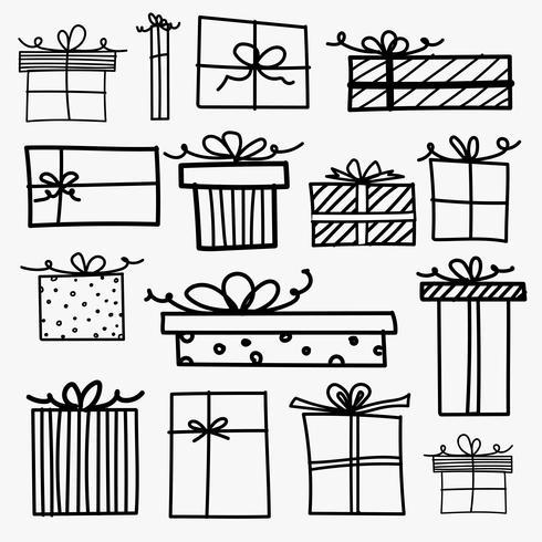 Scatole regalo Doodle disegnato a mano. Illustrazione vettoriale