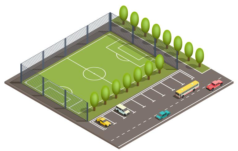 Vector 3d isometric football field, car parking