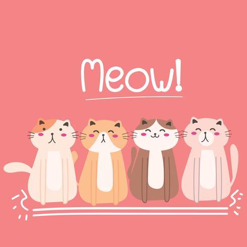 Fondo lindo de la ilustración del vector del gato.